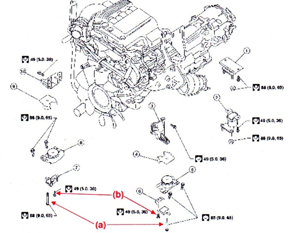 CAPTION: 1) Rear engine mounting insulator 4WD. 2) Rear engine mounting insulator 2WD. 3) LH upper engine mount bracket. 4) LH heat shield plate. 5) LH engine mount insulator. 6) LH engine lower mount bracket. 7) RH lower engine mount bracket. 8) RH engine mount insulator. 9) RH heat shield plate. 10) RH upper engine mount bracket. Note bolt locations (a) and (b). Bolt (a) is torqued to 65 ft.-lbs. and bolt (b) is torqued to 36 ft.-lbs.