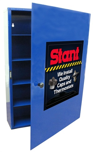 Stant's new cabinet comes with your choice of radiator, fuel and cas caps and thermostats.