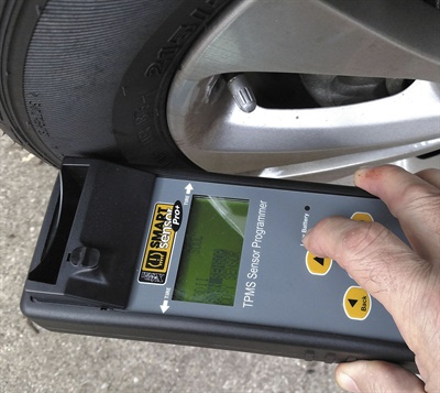 Prior to any TPMS service, existing sensors should be scanned for potential concerns. This step will save your shop a lot of time and aggravation. Photo courtesy of 31 Inc.