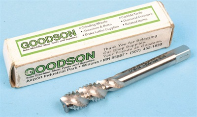 An example of a professional grade thread chaser from Goodson Tools, designed for engine builders. High quality hardened steel and massive flutes designed to follow, straighten and restore female threads.