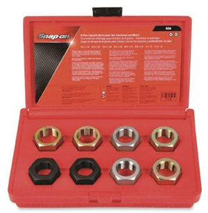 A spindle thread chaser set (Snap-on RD8), applicable to most domestic and import front wheel drive spindle threads, which can be used on-car or off-car.