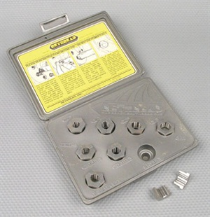 Split-die chasers are designed for restoring wheel stud threads. Kits include all popular fractional and metric sizes.