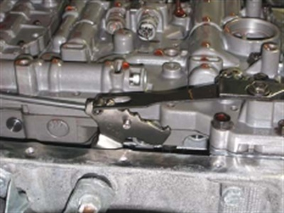 Detent spring in place on the manual shift lever.
