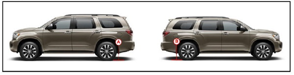 Note height measurement locations for left rear (A) and left rear (B).