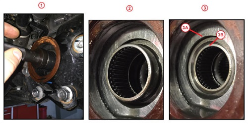 1) Replacer and handle used to press bearing into the differential case. 2) Partial installation of the bearing with engraved face outward. 3) Completed installation of bearing. Installation depth between 3A and 3B surfaces is 1.4 – 1.7 mm.