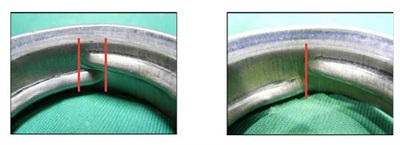 Example of overlapping threads (left) on the fuel neck and non-overlapping threads (right).