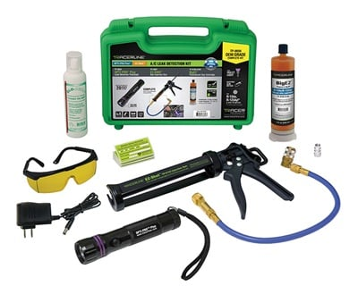 The Tracerline TP-8656 A/C lead detection kit comes with fluorescence-enhancing glasses and rugged carrying case.