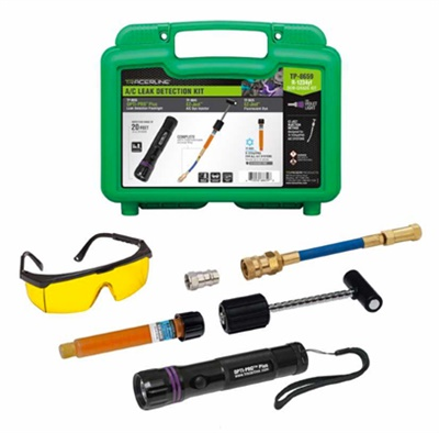 Tracer Products new TP-8659 A/C leak detection kit is designed for R-1234yf systems and services up to 14 vehicles.