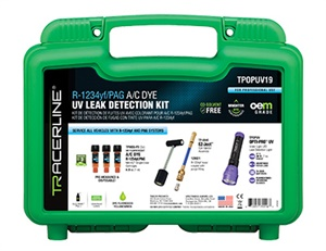 Tracerline Products' Fluoro-Lite 5 fluorescent dye kit finds UV leaks in systems with R-1234yf, the preferred refrigerant among new vehicle manufacturers today.