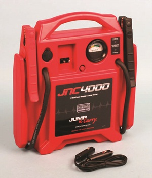 Clore's Jump-N-Carry model JNC4000 weighs in at 18 pounds and offers 1,100 peak amps and 325 cold-cranking amps. Other Clore jump pack models offer even higher ratings.