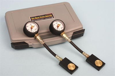 IPA's Disc Brake Analyzer, P/N 7884, includes a pair of pressure gauges, a form-fitted case and detailed instructions. It is a real time-saver when diagnosing the brake system.