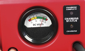 The Jump-N-Carry's convenient charge indicator reveals the unit's stored voltage.