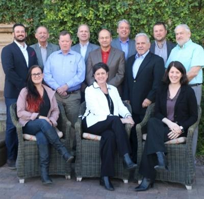 TechForce Foundation board of directors. Front row, left to right: Bogi Lateiner (Bogi's Garage); Jennifer Maher (TechForce); Denise Kingstrom (BASF). Back row, left to right: Tony Sciarra (Tesla); Barry Fodor (Infiniti); John Heenan (Marine Corps Scholarship Foundation); Warren DeBardelaben (Nissan); Greg Rintala (Snap-on); Tom Gray (Interstate Batteries); Fred Nader (Autotech Technology Development); Chris Blanchette (Bridgestone); and TechForce Staff Liaison Greg Settle. Not pictured: Dan Hancock, board president/chairman; Angie Babin, vice president, Manheim/Cox Automotive; and Jamal Muashsher, vice president, Valvoline.