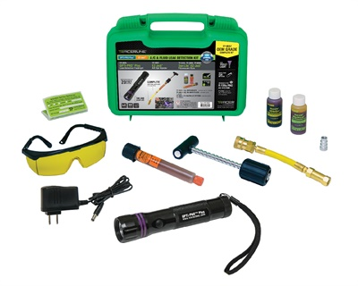 The Tracerline TP-8657-OEM-grade A/C and fluid leak detection kit from Tracer Products comes with the company's EZ-Ject A/C dye injector with R-134a hose/coupler and R-12 adapter/purge fitting.