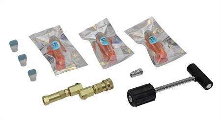 The Tracerline TP-9812 Hybrid Vehicle A/C Dye Injection Kit comes with three 0.25oz (7.4 ml) Mini-EZ dye cartridges individually wrapped in a moisture-resistant foil pouch with desiccant bag.