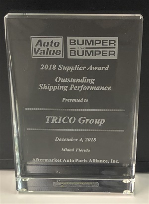 Trico Products recently earned a 2018 Supplier Award for outstanding shipping performance from Aftermarket Auto Parts Alliance Inc.