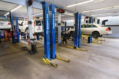 The extremely clean and well-maintained shop area features 10 service bays.
