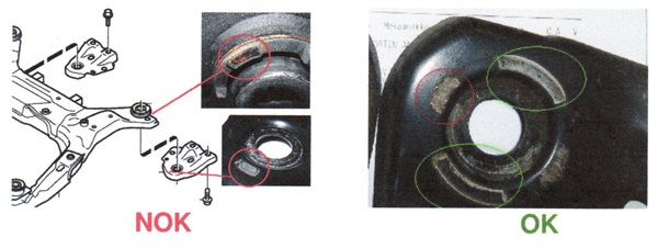 Left: bushing to plate interface is incorrect. Right: correct interface (see green circles).