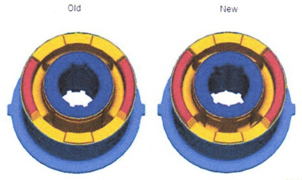 The replacement bushing (at right) features a different interface with the support plate and different groove pattern at the I.D.
