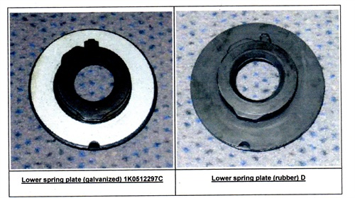 The lower rear spring plate should be a rubber version (shown at right) as opposed to a galvanized plate.