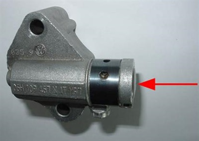If the timing chain tensioner plunger is stuck in the retracted position, the tensioner has failed.