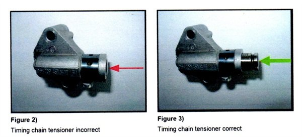 Figure 2 shows the timing chain tensioner incorrect (stuck). Figure 3 shows the tensioner in correct state.