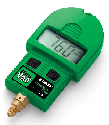 This vacuum/micron gauge features a large LCD display and technologically advanced Pirani sensor. It accurately displays vacuum level at every stage in the evacuation cycle, from atmosphere (760,000 microns) down to 1 micron.