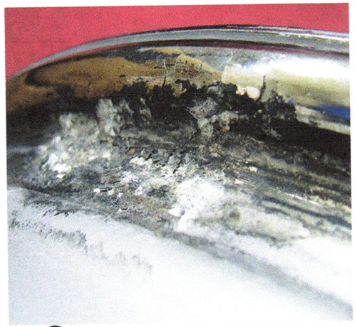 An example of finish corrosion in the bead seat.