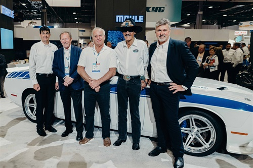 "Jon Douglas, president, Mahle Aftermarket North America; Professor Doctor Heinz Junker, chairman of the Mahle Strategic Advisory Board; grand prize winner Jim Pickles; ""The King"" Richard Petty; and Olaf Henning, president of the Mahle Global Aftermarket."