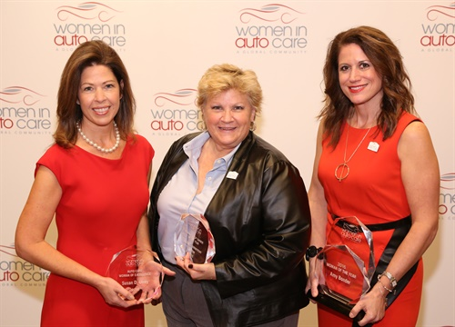 Susan Ulrey (left), Judith Walter (center) and Amy Bonder (right) were presented with 2016 Womern in Auto Care awards at the recent AAPEX event in Las Vegas.