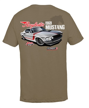 The limited edition '69 Raybestos Mustang T-shirt showcases the iconic muscle car painted in classic colors and striping that are true to the time.
