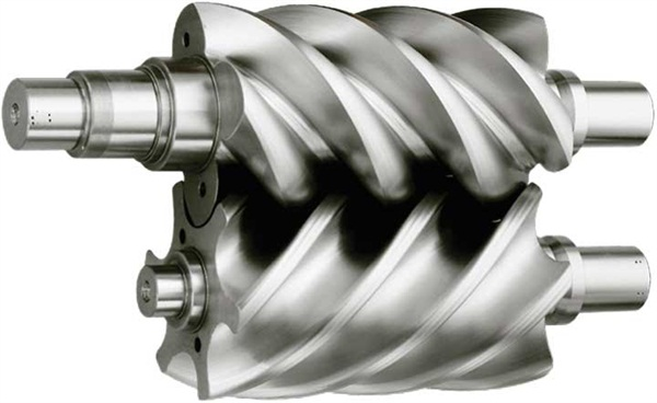 """Rotary screws feature graduated helical """"blades"""" that mesh together without contact (very tight clearance tolerances) that squeeze incoming air, generating compressed air at the output."""