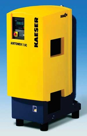 An example,of a relatively compact rotary screw compressor for automotive shop applications. The Kaeser Airtower is available in models ranging from 4 to 7.5 HP, 9 to 77 scfm and operating pressures of 125 – 217 psig.