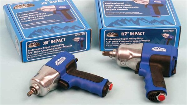We tested two of the Mountain air wrenches, including a 3/8-inch and a 1/2-inch drive. Note the rubber grip inserts.