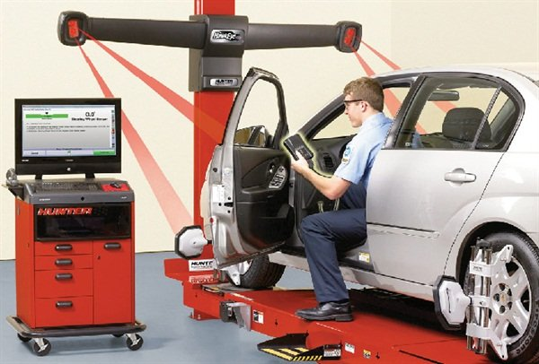 Today's electronic wheel alignment systems offer precision and ease of use, including such features as remote display screen that allows the technician to monitor wheel angles without the need to leave the car and view the primary screen.