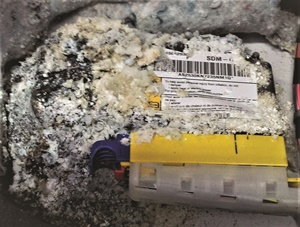 Another example of corrosion, this SRS module was under the driver's seat of a Chevy Blazer that had a windshield leak.