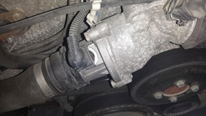 This photo shows the mapped thermostat connection and housing in a BMW.