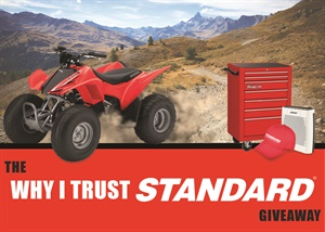"""Standard Motor Products' """"Why I Trust Standard"""" giveaway runs through Sept. 30, 2017, and will award a grand prize winner with a 2017 Honda ATV."""