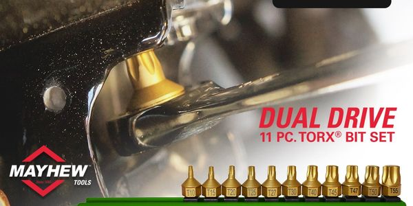 The new dual drive 11-piece Torx bit set from Mayhew Tools is assembled in the U.S.A.