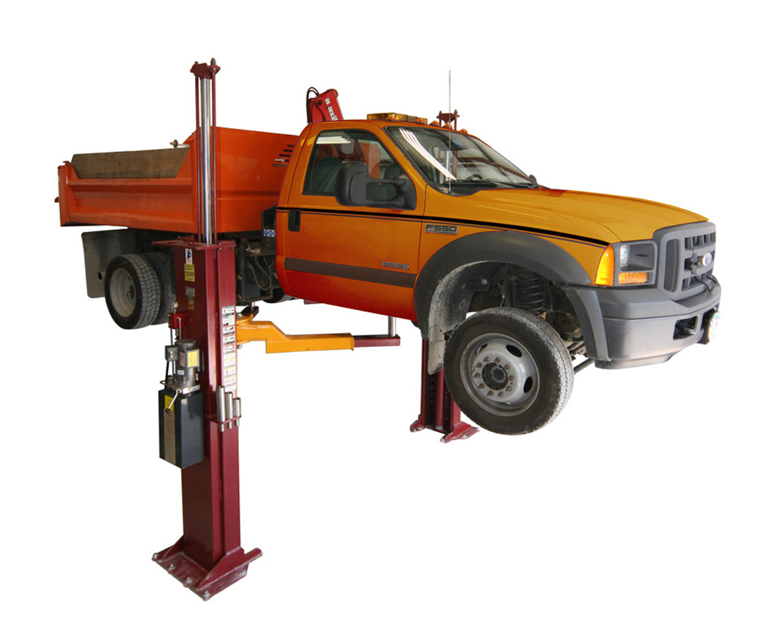 Above-ground, two-post truck lift