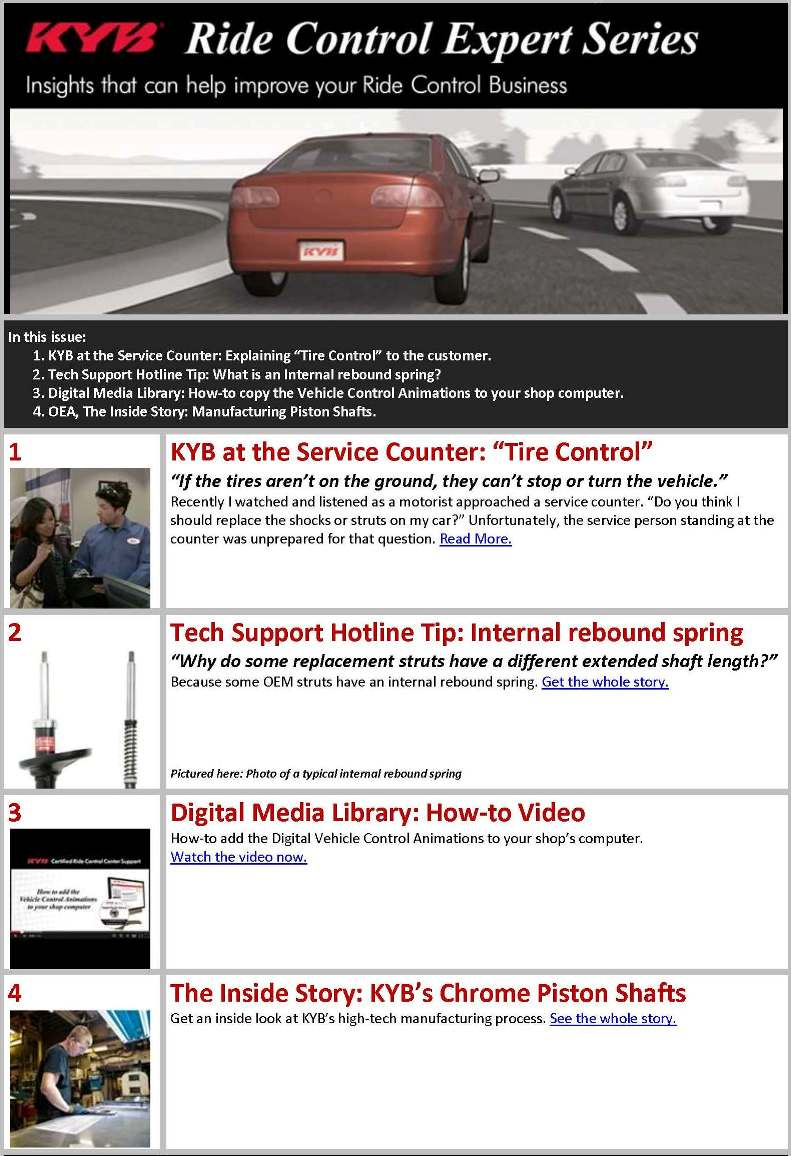 New KYB e-learning newsletter offers technical, marketing and sales information