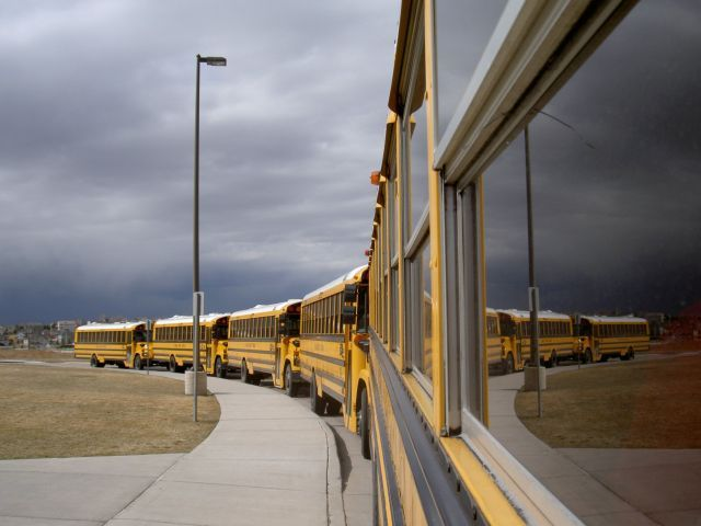 In this striking shot, John Horton captured a lineup of school buses and their reflection under...