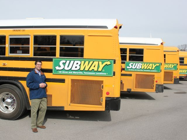 Todd Isaacs, owner of District Solutions, says that school bus advertising can help...
