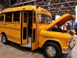 Steve and Gail Cage of Independence, Missouri, showed off their vintage school bus. It's a 1955...