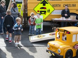 The bus with the seat exhibit was on display at the North Carolina state fair in October. Buster...