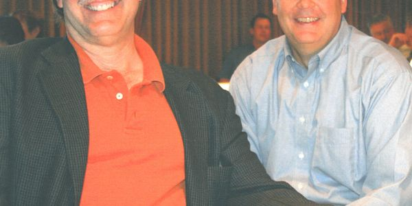 Bob Ulrich (left, with MTD Publisher Greg Smith) ceaselessly championed the independent tire...