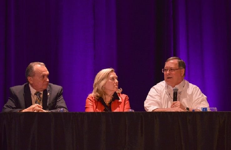 Mike LaRocco (right), president of NASDPTS, Becky Weber (center), a representative from the...