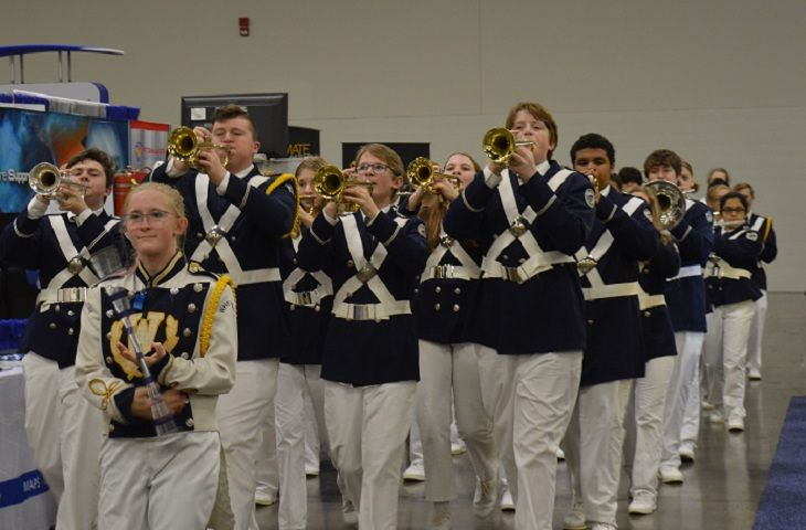 Band students from Whetstone High School paraded around the trade show floor as attendees...
