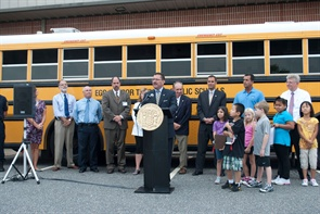 New Jersey Motor Vehicle Commission (MVC) Chairman and Chief Administrator Raymond P. Martinez addresses a crowd during the kickoff for the MVC's biannual school bus inspections.