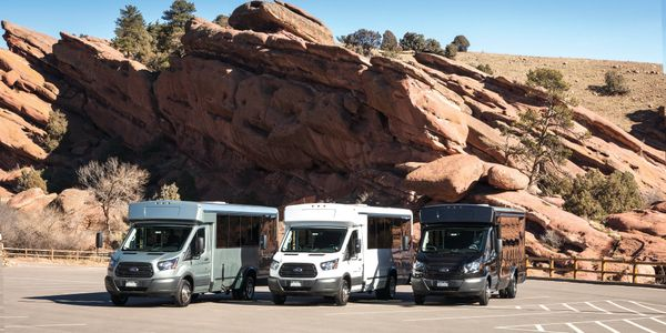 Available on the Ford Transit, E-Series, and Low-Floor shuttle chassis models, Collins' buses...